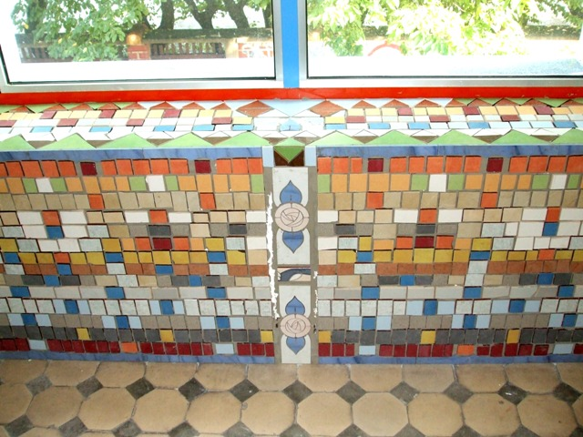 Paintings on the wall, glass,facade - Window shelf mosaic 2