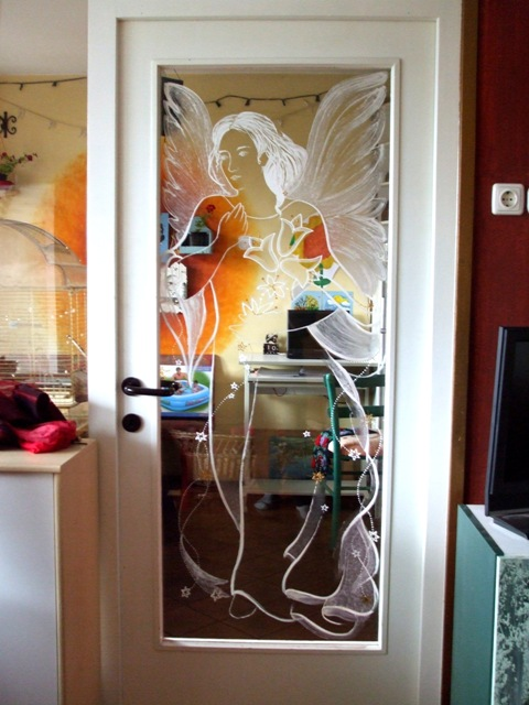 Paintings on the wall, glass,facade - Painting on glass - Angel 2