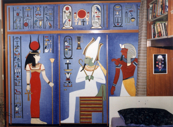 Paintings on the wall, glass,facade - Painting on the wall: Egyptians